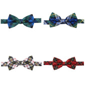 Men's Royal Tartans Plaid Black Watch Adjustable Pre-Tied Banded Bow Tie - Blue Green
