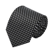 Polka Dot Print Men's Polka Dotted Extra Long Tie - Black