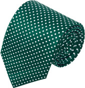 Polka Dot Print Men's Polka Dotted Extra Long Tie - Forest Green