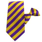 Men's 1/2-Inch Stripes School College Clip-On Neck Tie - Gold Purple