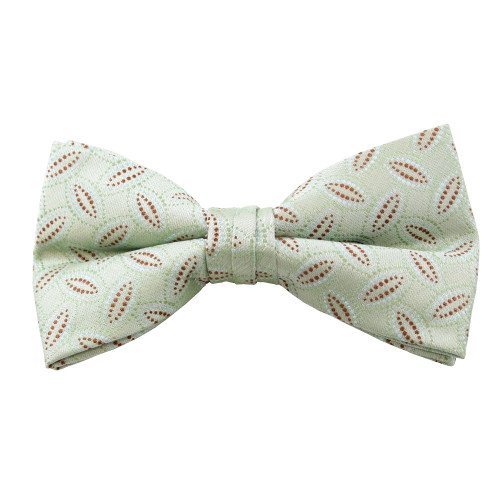 Sage & Brown Pattern Clip On Bow Tie