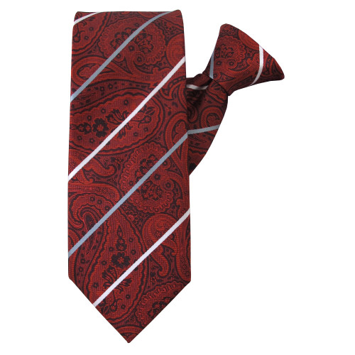 Burgundy Paisley Stripe Clip On Tie