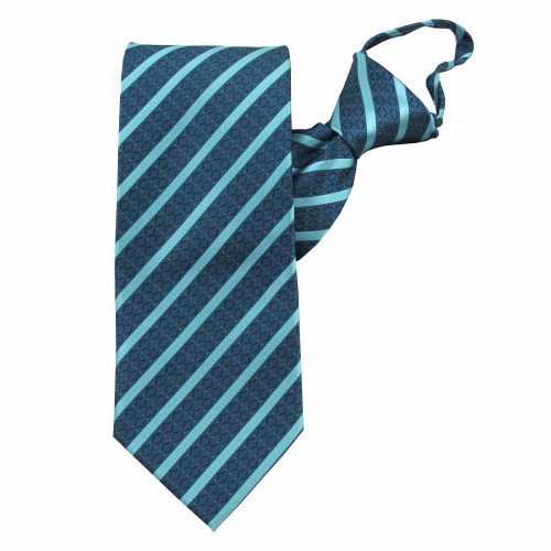 Turquoise Stately Stripes Zipper Tie