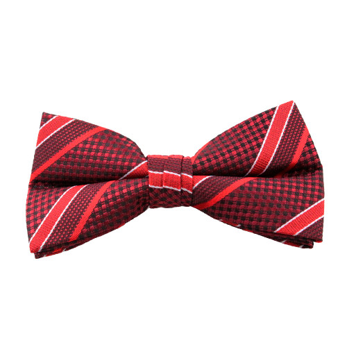 Red Stripe Pattern Clip On Bow Tie