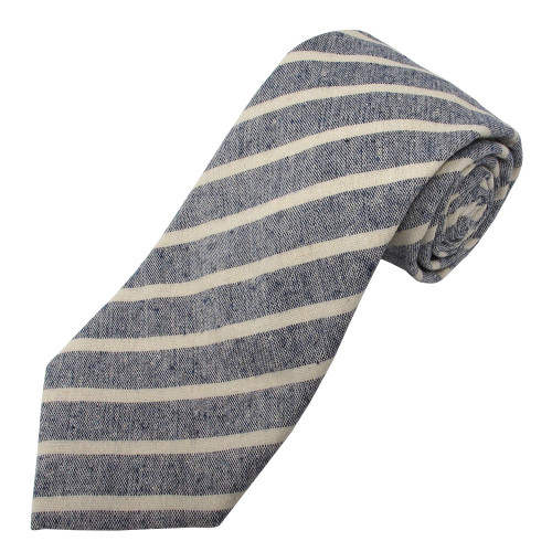 Navy Emery Variegated Stripe Linen-Cotton Tie