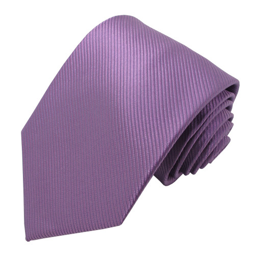 Purple Solid Color Silk Ribbed Tie