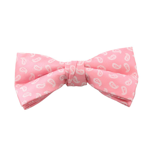Pink & White Paisley Clip On Bow Tie