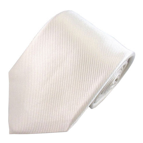 White Solid Color Silk Ribbed Tie