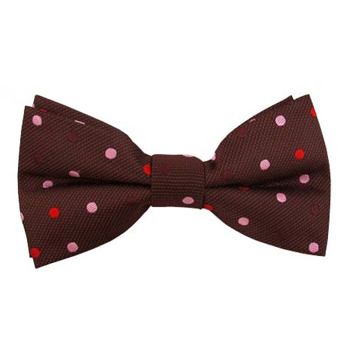Wine with Pink & Red Dots Clip on Bow Tie
