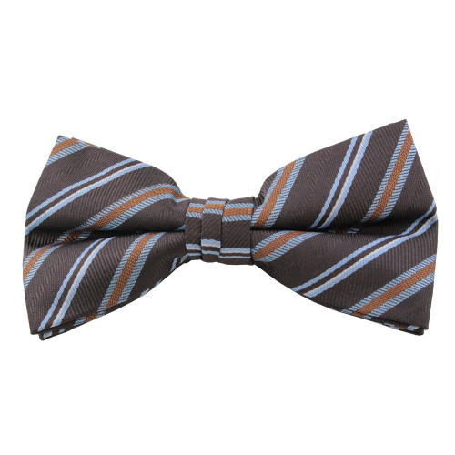 Brown & Sky Blue Stripe Clip On Bow Tie