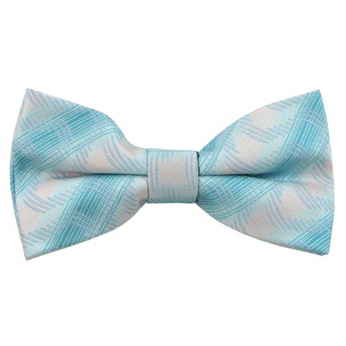 Turquoise & Silvery White Pattern Band Bow Tie
