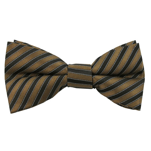 Boys Brown & Black Even Stripe Band Bow Tie