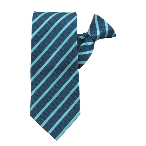 Turquoise Stately Stripes Clip on Tie