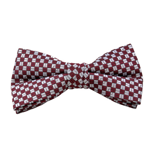 Burgundy Square Pattern Clip On Bow Tie