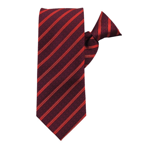 Red Stately Stripes X-Long Clip on Tie