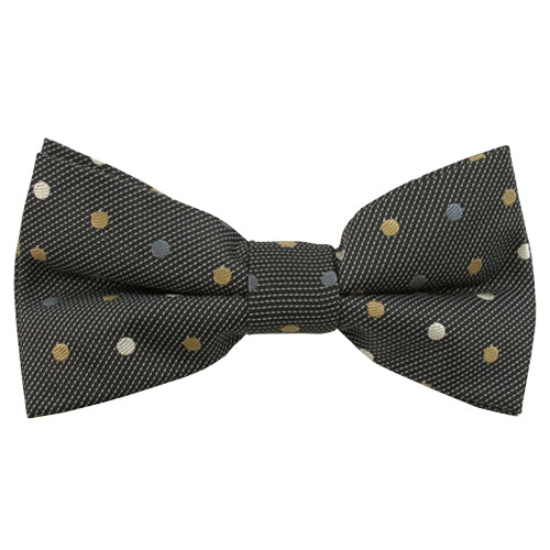 Black Multi Color Dots Pattern Band Bow Tie