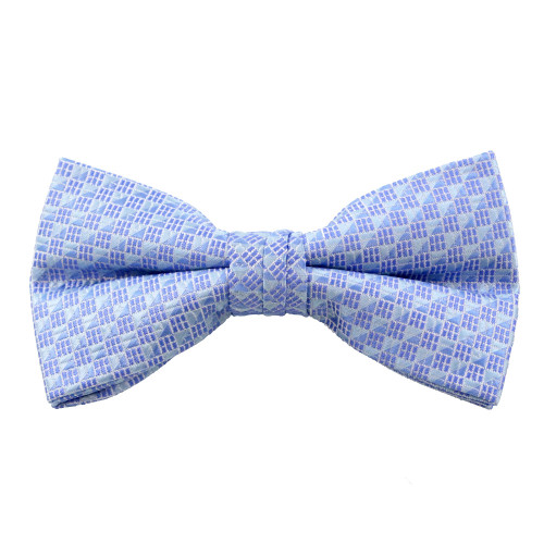 Blue Tones Square Pattern Clip On Bow Tie
