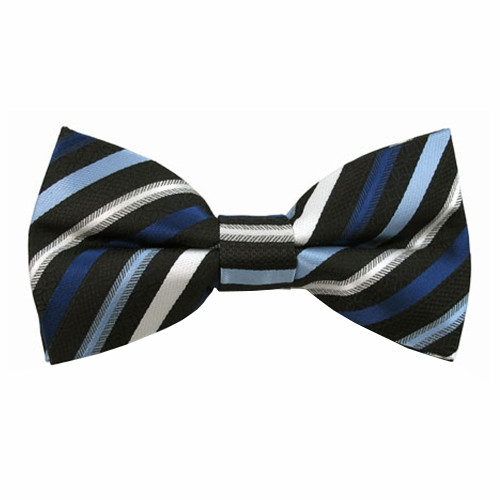 Shades of Blue Stripe Band Bow Tie