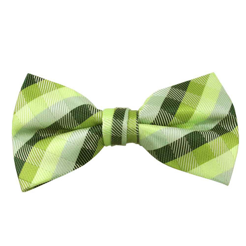 Green Plaid Band Bow Tie