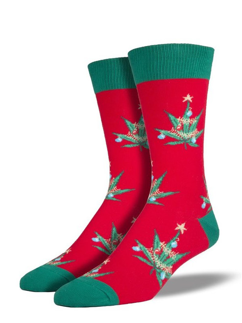 Men's Pot Lovers Xmas Crew Novelty Socks - Red