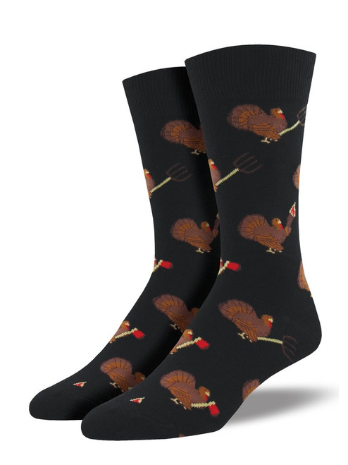 Men's Turkey Revolution Crew Novelty Socks - Black