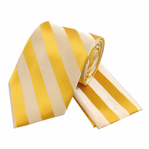 Boys Tone on Tone Stripe Tie & Hanky Set #401 - Gold