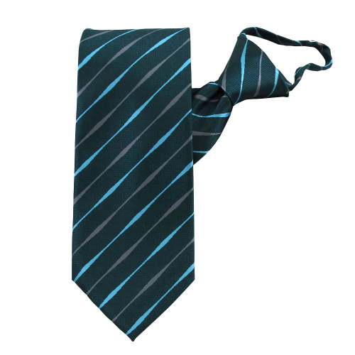 Teal Striped Beauty Zipper Tie