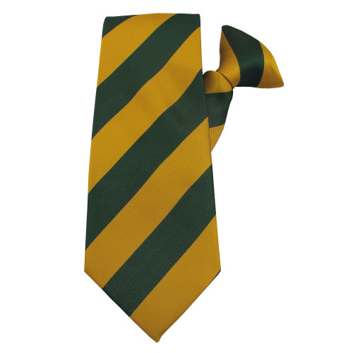 Green & Gold Striped Polyester Clip on Tie