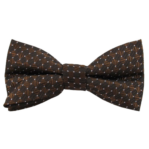 Brown Pin Dot Pattern Band Bow Tie