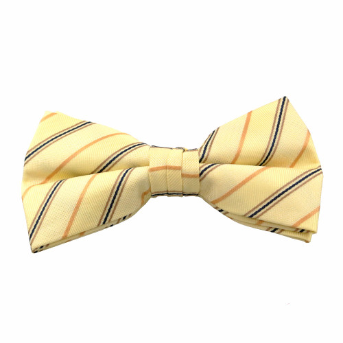 Yellow Stripe Pattern Clip On Bow Tie