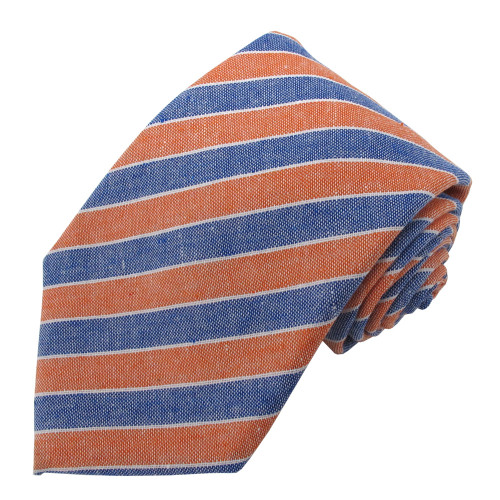 Orange & Denim Carson Variegated Linen-Cotton Tie