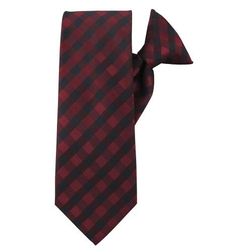 Red Winter Plaid Clip On Tie
