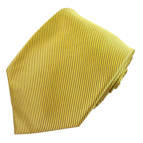 Yellow Solid Color Silk Ribbed Tie