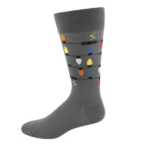 Men's Christmas Lights Crew Novelty Socks - Charcoal