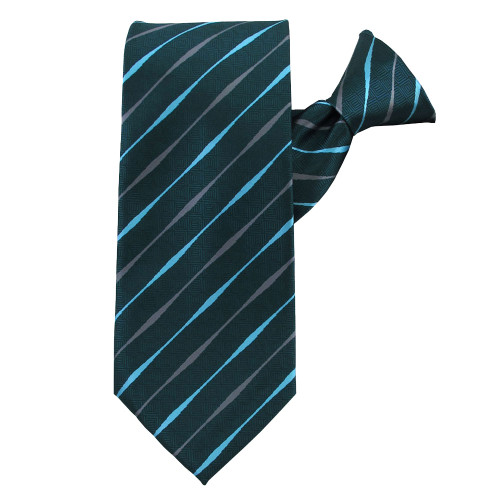 Teal Striped Beauty Clip on Tie