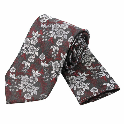 Charcoal & Red Floral Design Tie & Hanky Set