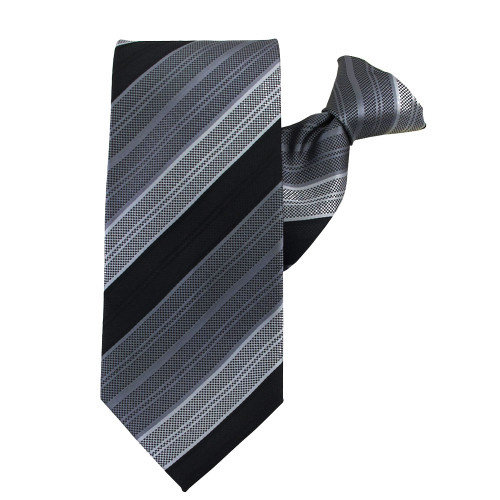 Black Rainbow Stripe X-Long Clip on Tie