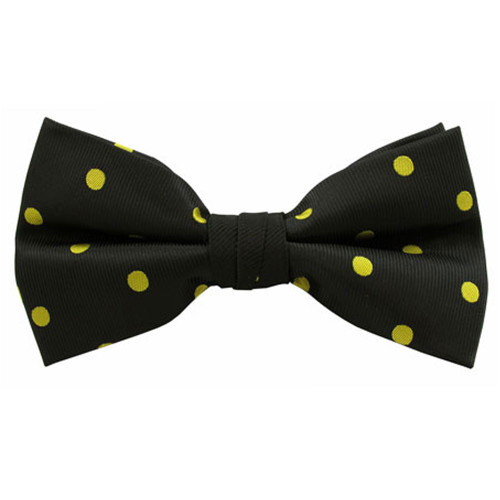 Black with Gold Polka Dot Band Bow Ties