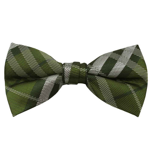Amazon Green Plaid Band Bow Tie