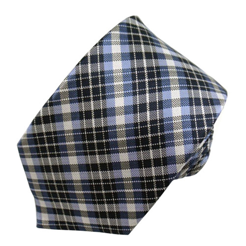 Blue & Navy Plaid Narrow Tie #6753