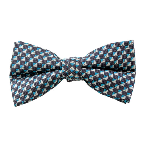 Blue & Black Pattern Clip On Bow Tie