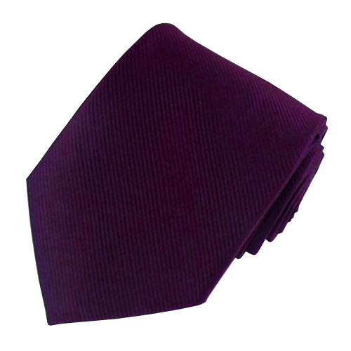 Plum Solid Color Silk Ribbed Tie