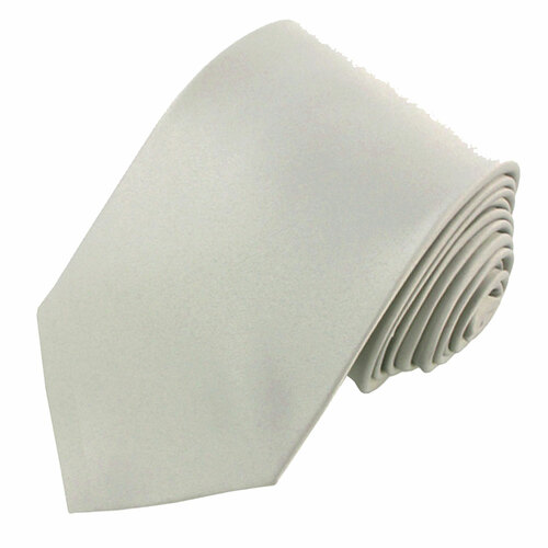 True Pale Silver Solid Polyester Tie