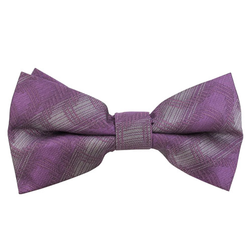 Purple & Silver Abstract Plaid Band Bow Tie