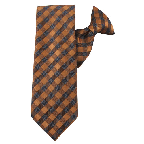 Orange Winter Plaid Clip On Tie