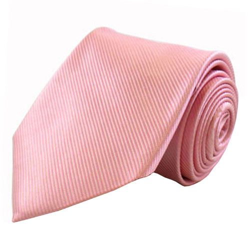 Pink Solid Color Silk Ribbed Tie