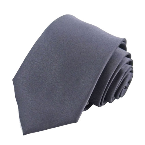 Charcoal Solid Polyester Tie