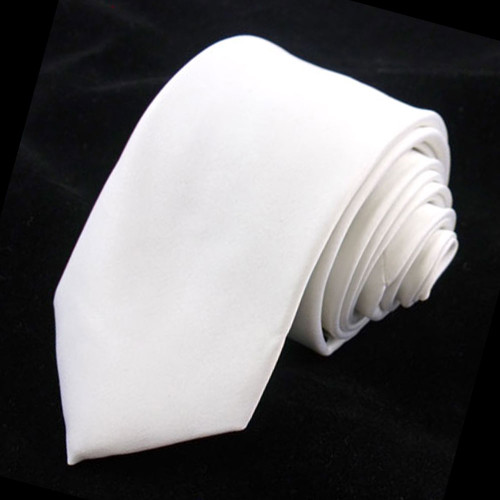 White Solid Polyester Tie