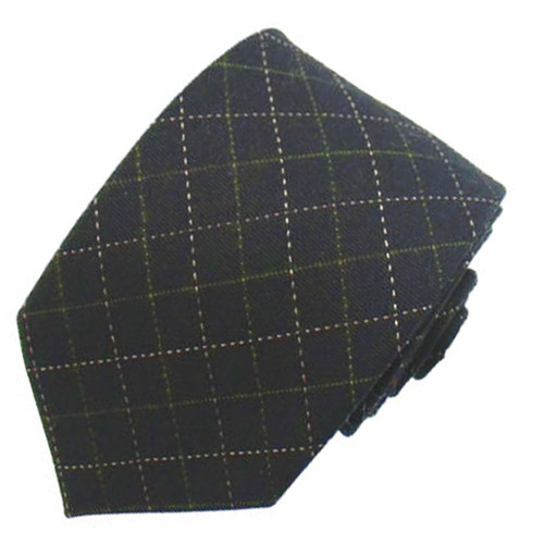 Black Wool Plaid Narrow Tie #6759