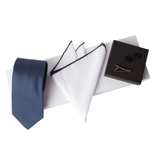 Men's Luxury 4 Piece Navy Blue Gift Box Set